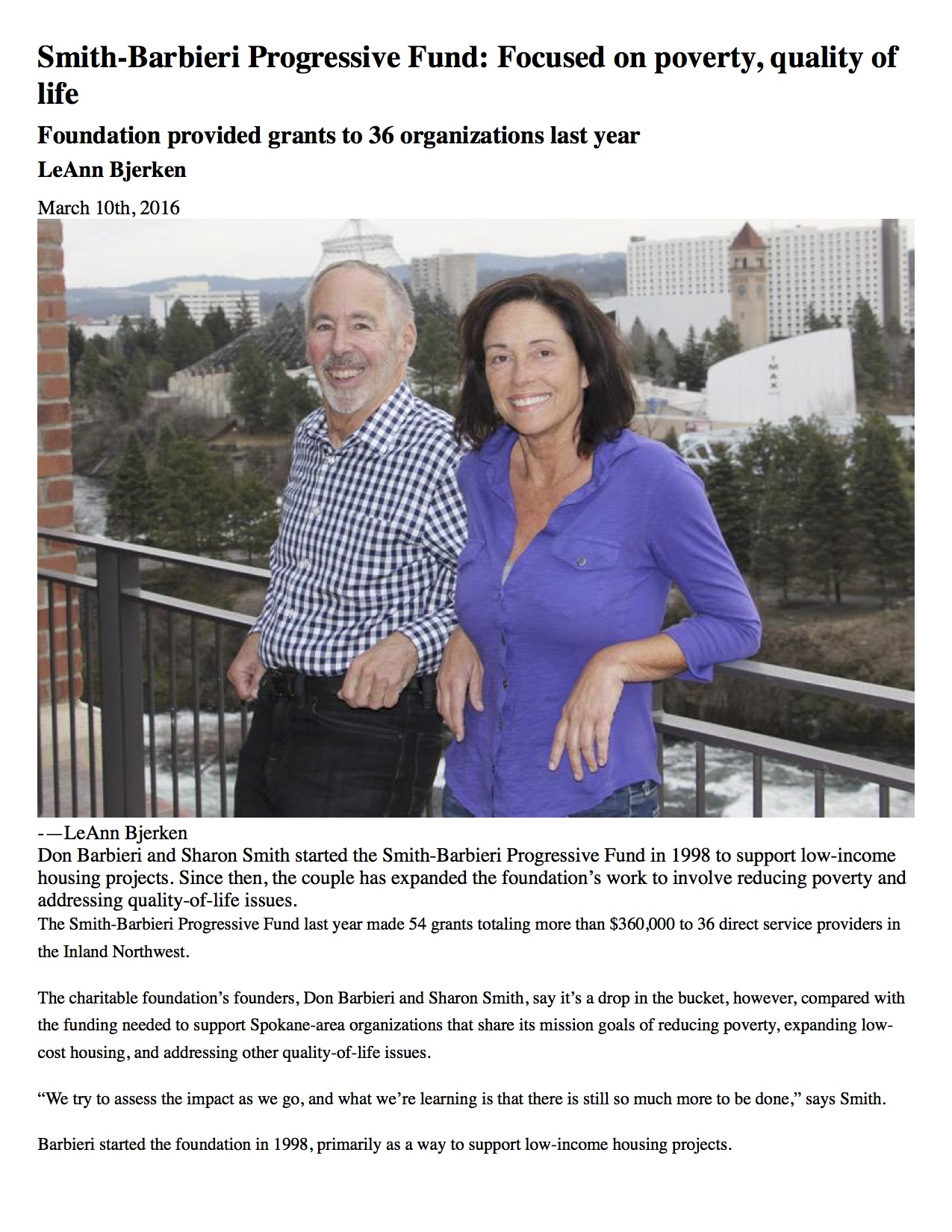 Smith-Barbieri Progressive Fund: Focused on poverty, quality of life > Spokane Journal of Business